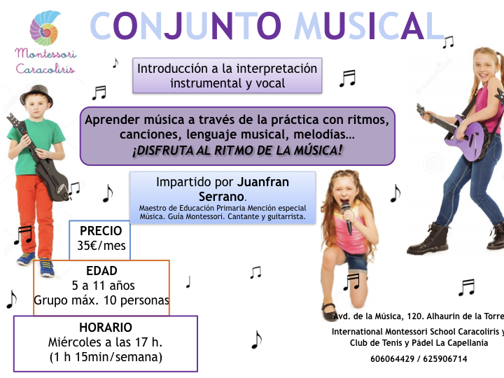 Taller conjunto musical en escuela Montessori