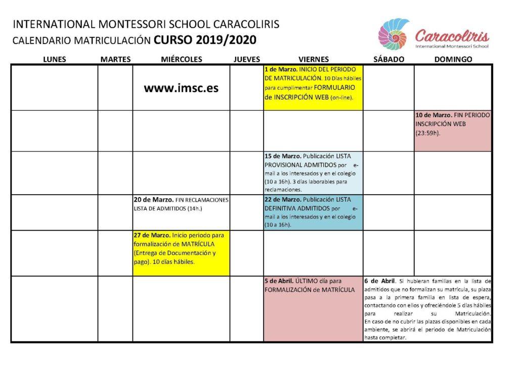 Calendario de proceso admisión Colegio Montessori Caracoliris