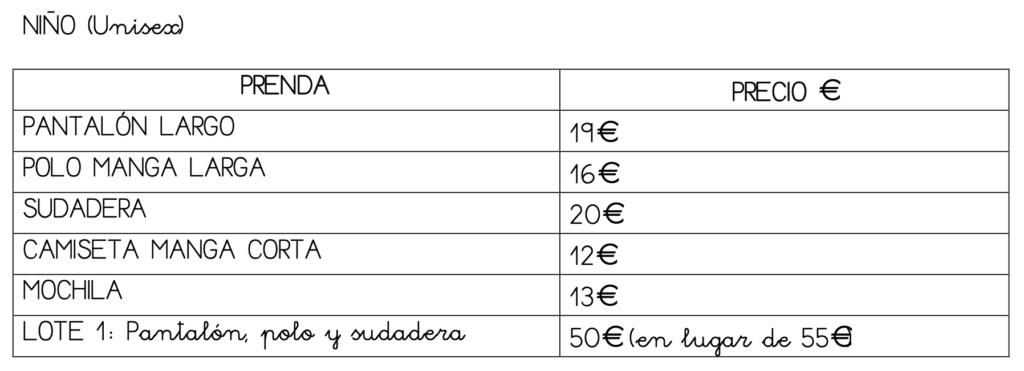 Precio Uniforme Invierno Nino Montessori